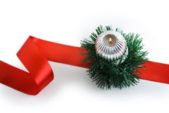 Free Burning Candle With Christmas Decorations Stock Images - 11290384