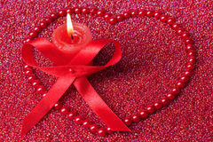 Burning Candle With Christmas Decorations Royalty Free Stock Photos