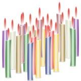 Burning candles. Colour burning candles on white background Royalty Free Stock Photo