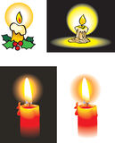 Burning candles. Collection of burning candle, cartoon and photo-realistic, vector illustration Royalty Free Stock Images