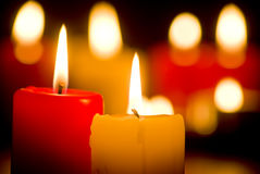 Burning candles. Flame of burning candles closeup Royalty Free Stock Image