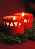 Burning Candles. – Christmas Decoration Stock Image