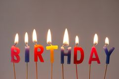 Burning candles. With the word Birthday Royalty Free Stock Image