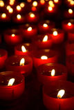 Burning candles. For promise payment in catholic church Royalty Free Stock Images