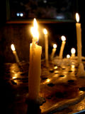 Burning Candles. Candles burning in a church inside a monastry Royalty Free Stock Image