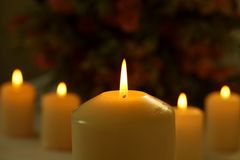 Burning candles against blurred flower background. Line of burning candles with a big candle in the foreground against blurred flower background Royalty Free Stock Image