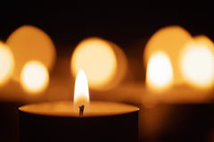 Burning candles with beautiful out of focus Royalty Free Stock Photography