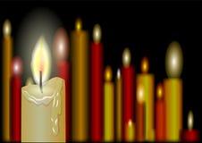 Burning candles on a black. Background royalty free illustration
