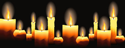 Burning candles on black. Seamless background. stock illustration
