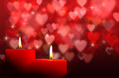 Burning candles with bokeh. Burning candles with hearts bokeh Stock Photography