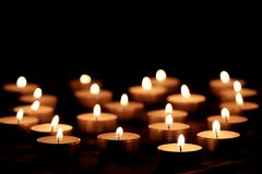 Burning candles with bright flames royalty free stock photos