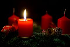 Burning candles with bright flames royalty free stock image