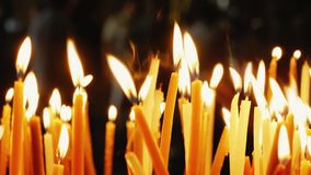 Burning candles. Celebration event or religious memorial attribute of warmth and sincerity
