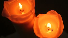 Burning candles stock footage