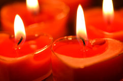 Burning candles. Candles light background. Candle flame at night. Stock Images