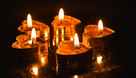 Burning candles. Candles light background. Candle flame at night. Stock Photography