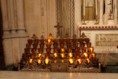 Burning candles in cathedral of st. Patrick Royalty Free Stock Images