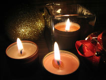 Burning Candles on Christmas Eve Stock Images