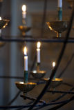 Burning candles in church Royalty Free Stock Photos