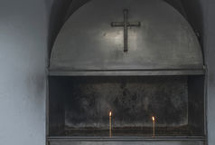 Burning candles in a church Royalty Free Stock Photos