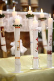 Burning candles at the communion Royalty Free Stock Photo
