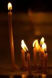 Burning candles on dark background Royalty Free Stock Image