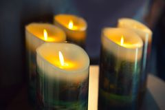 Burning candles on dark background Royalty Free Stock Image