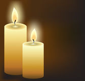 Burning candles. On dark background, vector illustration Stock Photos