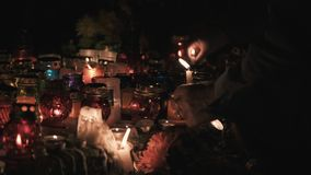 Burning candles on the day of the dead, Halloween stock video footage