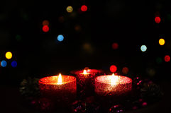 Burning candles and decorations for Christmas trees royalty free stock photos