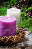Burning candles on festive Christmas background Royalty Free Stock Image
