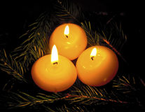 Burning Candles on Fir Tree Branches Royalty Free Stock Images