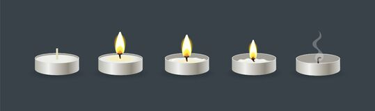 Free Burning Candles Flame Set. Cartoon Burning Wax Small Candle In Stand Royalty Free Stock Photos - 197110168