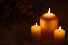 Burning candles with flowers in the background Stock Images