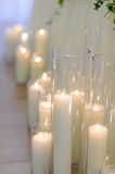 Burning candles in glass vases, blur background, selective focus Royalty Free Stock Image