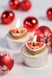 Burning candles in heart shape Royalty Free Stock Photo