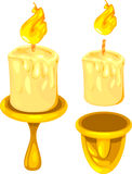 Burning candles and holders. Illustration of burning candles with gold holders, white background Royalty Free Stock Photography