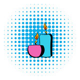 Burning candles icon, comics style Stock Photography