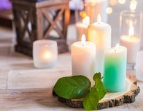 Free Burning Candles In Transparent Glass Vases Stock Photos - 101953643