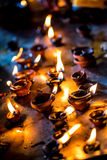 Burning candles in the Indian temple. Royalty Free Stock Photography