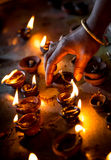 Burning candles in the Indian temple. Stock Image