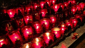 Burning candles inside a curch stock footage