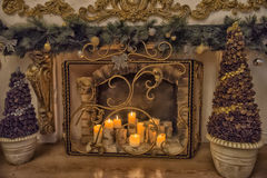 Burning candles. In the interior royalty free stock photo
