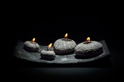 Burning candles isolated on black Royalty Free Stock Image
