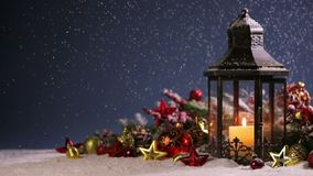 Lantern and christmas decoration stock video footage