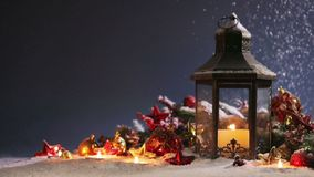 Lantern and christmas decoration stock footage