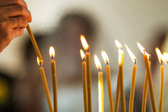 Burning candles Stock Images