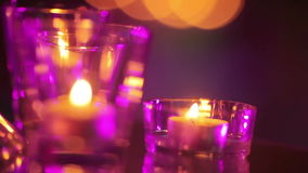 Burning candles on mirror Royalty Free Stock Photography