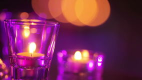 Burning candles on mirror Royalty Free Stock Images