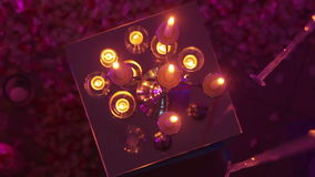 Burning candles in mirrors Royalty Free Stock Images